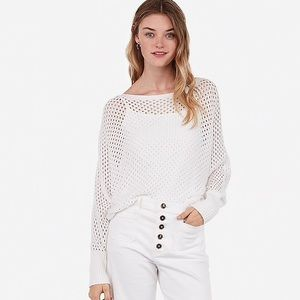 Express Open Stitch Dolman Sweater White NWT S